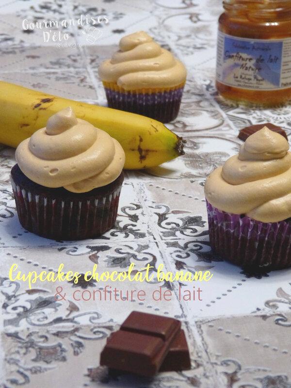 Cupcake chocolat banane crème confiture de lait (6)