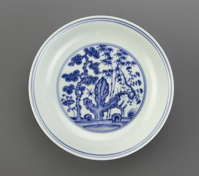 « Three Friends of Winter » dish, Chenghua Mark and Period (1465-1487), Ming dynasty (1368 – 1644)