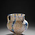 Pichet à décor grain de riz et coulures cobalt, iran, kashan, fin du xiie-début du xiiie siècle