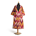 Ikat chapan in red and yellow, central asia, 19th-20th century