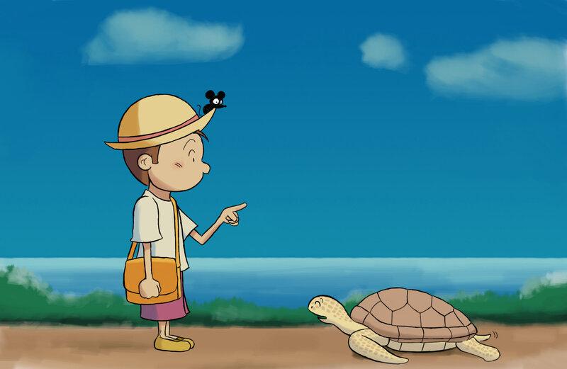 garçon, souris et tortue