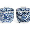 A pair of blue and white cylindrical boxes and covers, kangxi period (1662-1722)