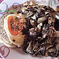 Petites côtelettes de porc à la mozzarella et poêlée de chicorée rouge et champignons