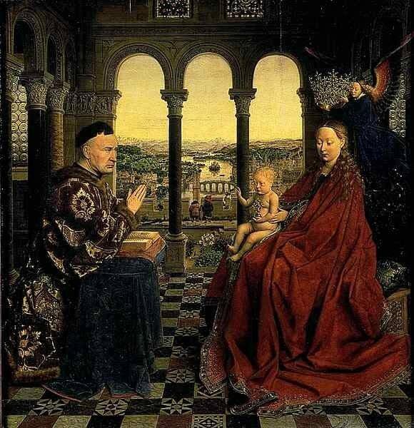 Jan van Eyck - La Vierge au chancelier Rolin - Louvre