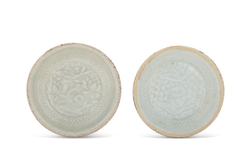 Two small molded qingbai 'double fish' dishes, Southern Song dynasty (1127-1279)