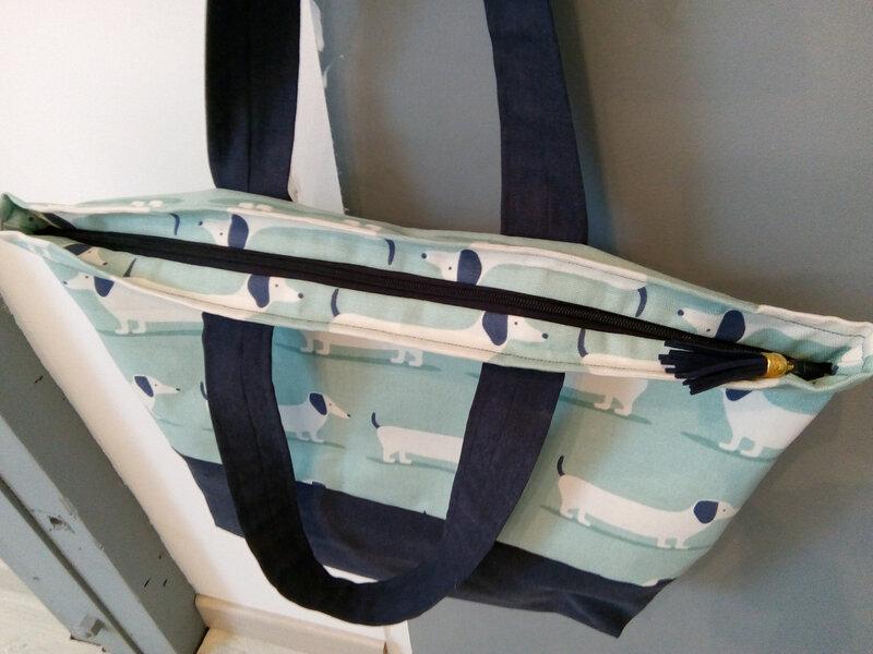 sac cabas fermeture éclair teckel détail