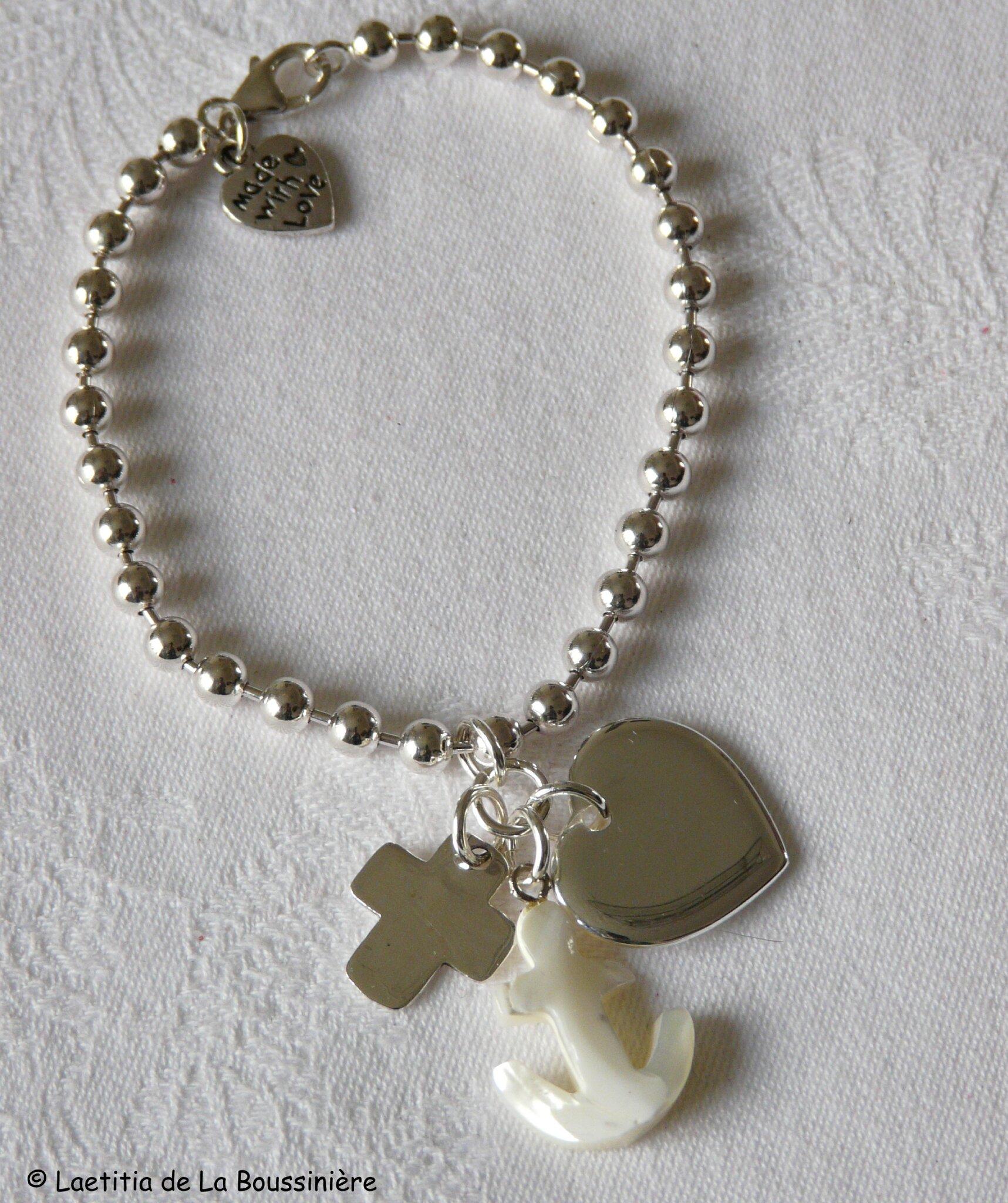 Bracelet perles argent massif Vertus Théologales (rassemblées) - argent massif et nacre