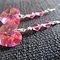 B.o. pendantes coeur de cristal swarovski rose