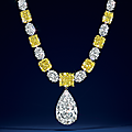 A magnificent colored diamond and diamond necklace, by graff
