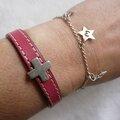 Bracelet Cuir Croix et bracelet Mes p'tites Stars