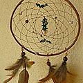 capteur rond-pierres de jade et agathe-plumes de faisan