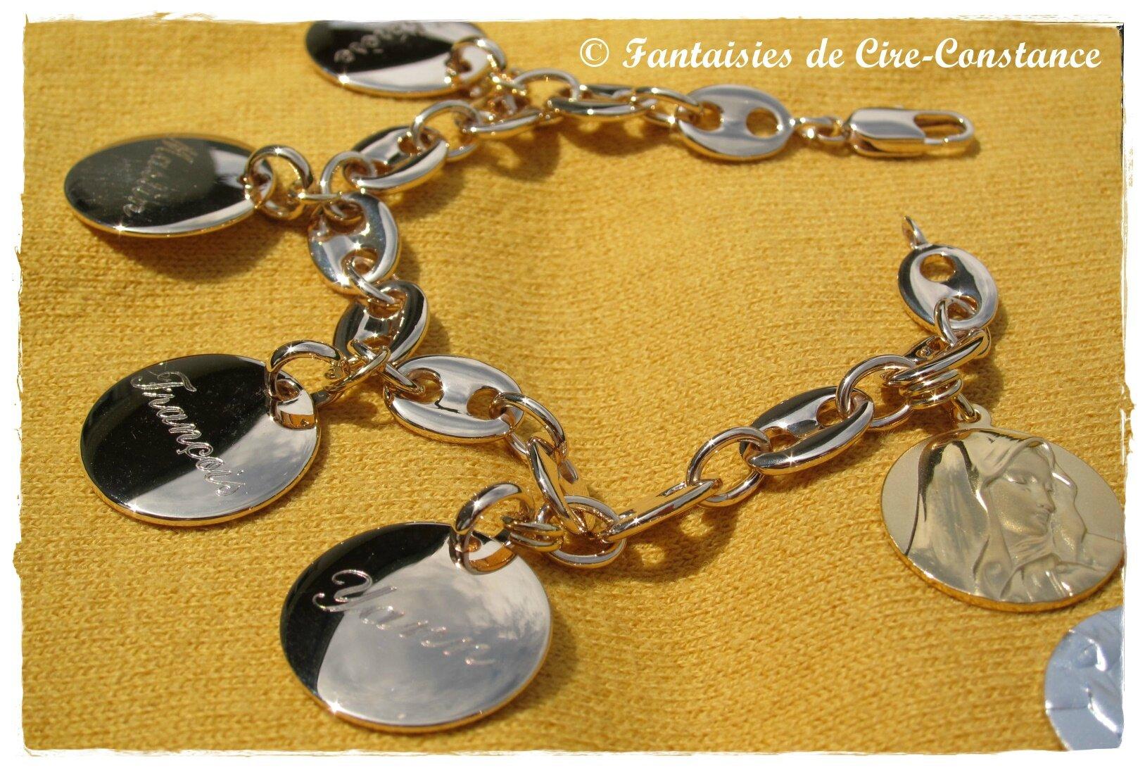Plaqué or Bracelet grains de café Vierge