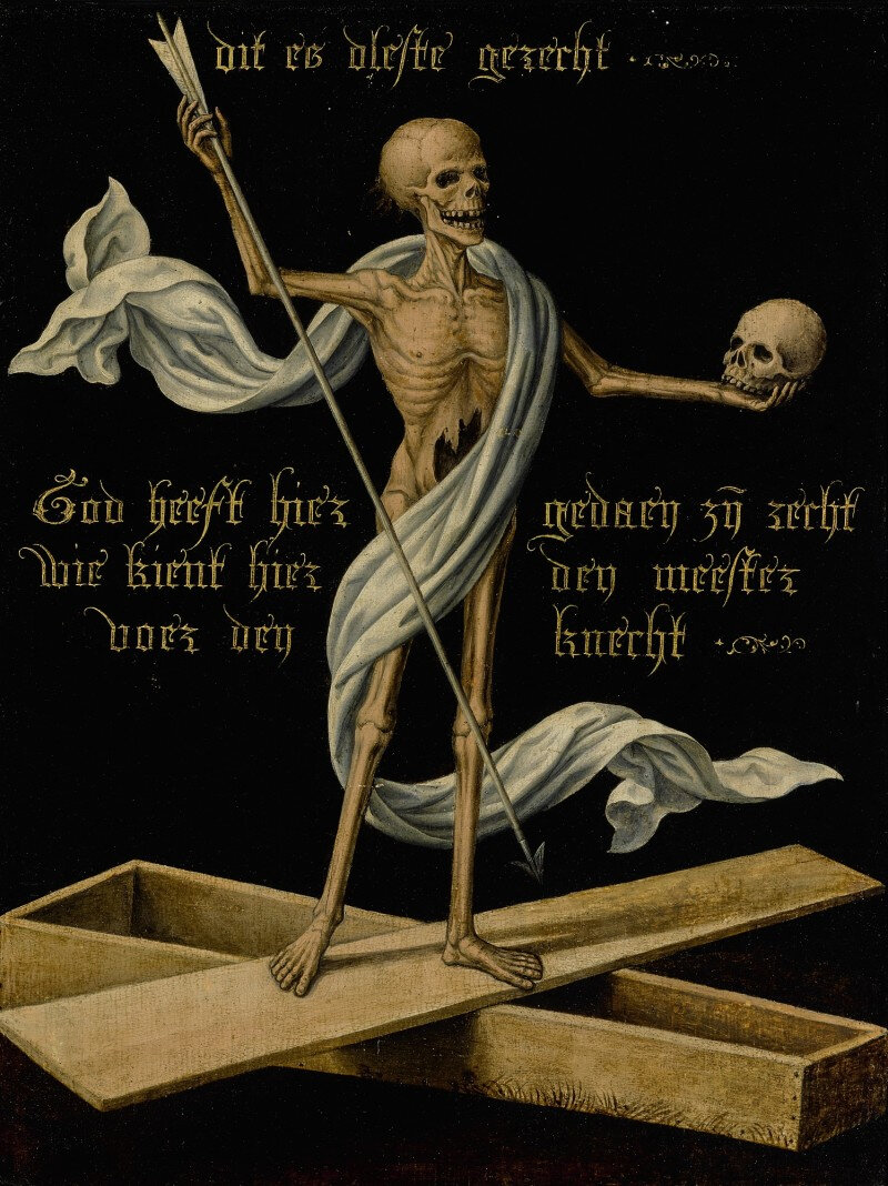 Netherlandish school, mid-16th century, A skeleton standing on an open coffin holding a skull and an arrow, as an Allegory of Earthly Vanity and Divine Salvation