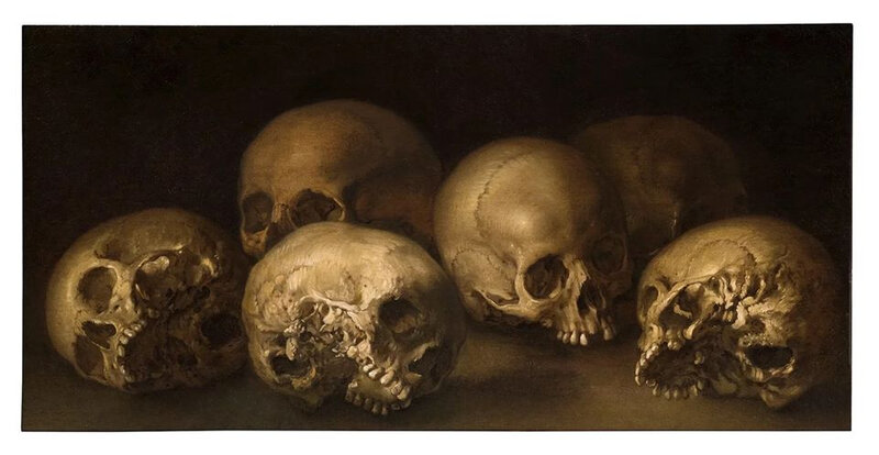 Spanish School 17th-century, Still life of Skulls, 1650