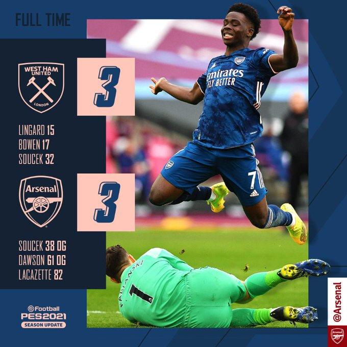 Arsenal revient de loin Lacazette sauve la mise à Arsenal 3-3 !