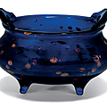 A gold-splashed blue glass tripod censer, 18th-19th century