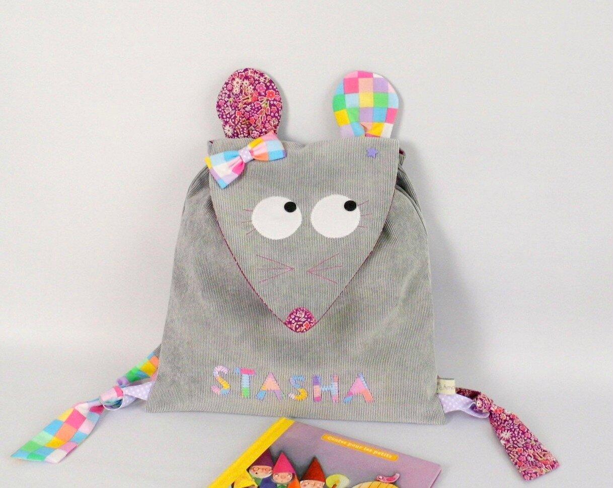 Sac souris crêche maternelle personnalisable prénom Stasha