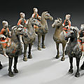 Five painted gray pottery figures of equestrians, han dynasty (206 bc - 220 ad)