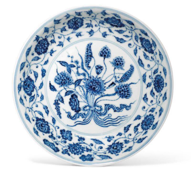 A Ming-style blue and white 'Lotus bouquet' dish, 18th century