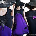 MOD 486A robe noire violet pois papillons taille 42-44 originale : la robe »Violette & Papillons »