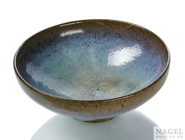 A large conical stoneware bowl with thick, blue glaze, Junyao ware, later Song (960-1279) or Yuan dynasty (1271-1368)