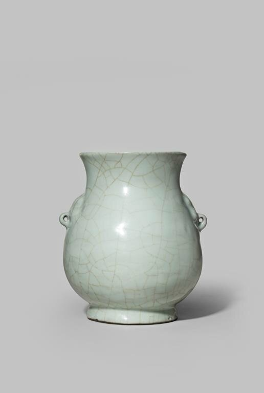 A Chinese Porcelain Guan Type Hu Shaped Vase 18th Century Or Earlier Alain R Truong