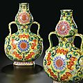 An exquisite pair of yellow ground famille-rose double-gourd vases seal marks and period of qianlong