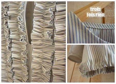 coton blanc rayé bleu