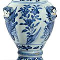 A 'Portuguese market' blue and white lobed jar, Wanli-Tianqi period (1573-1627)