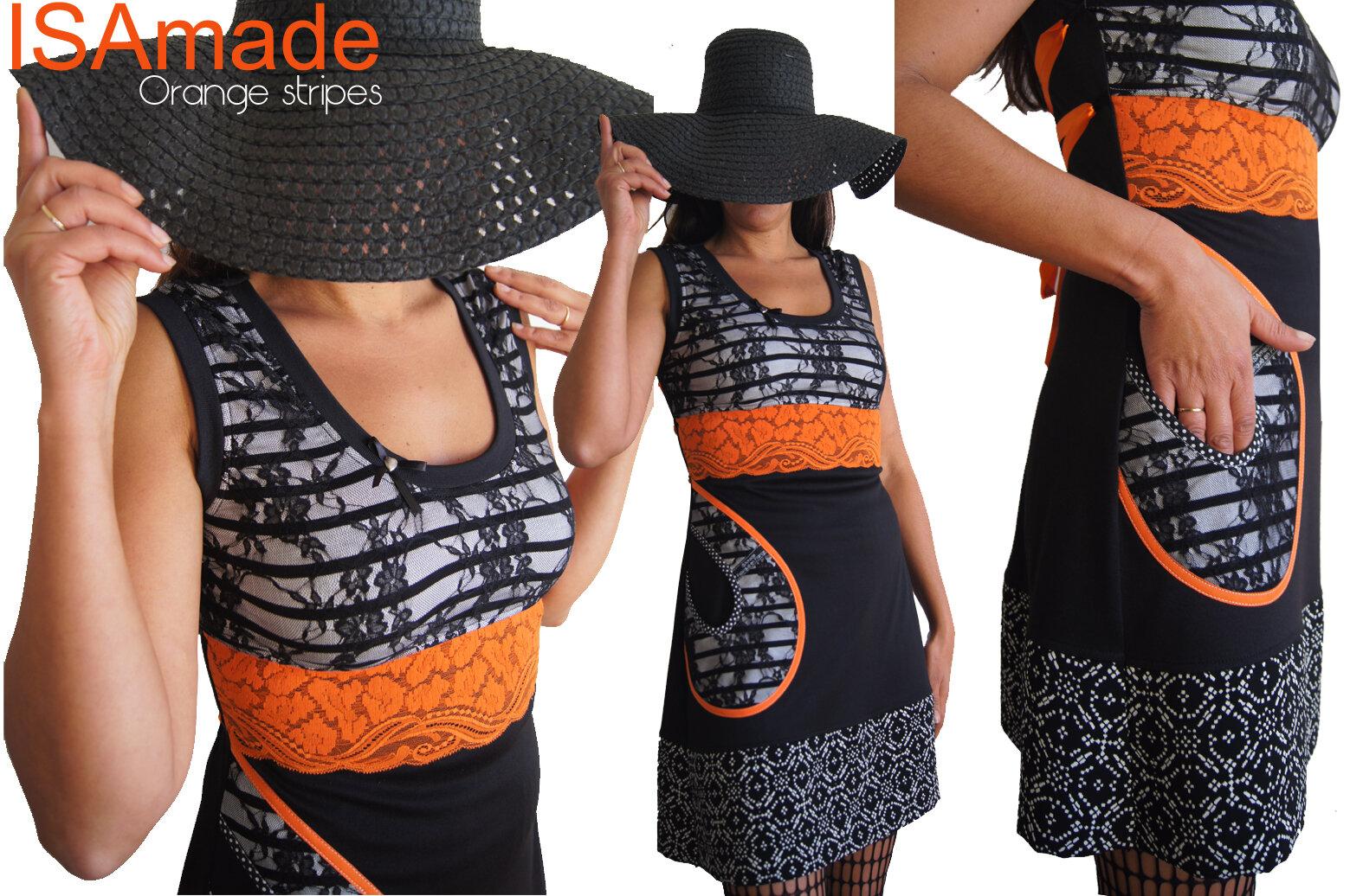 Robe Tunique Noire Blanche rayée à dentelle orange & Dentelle imprimé fantaisie Graphique !