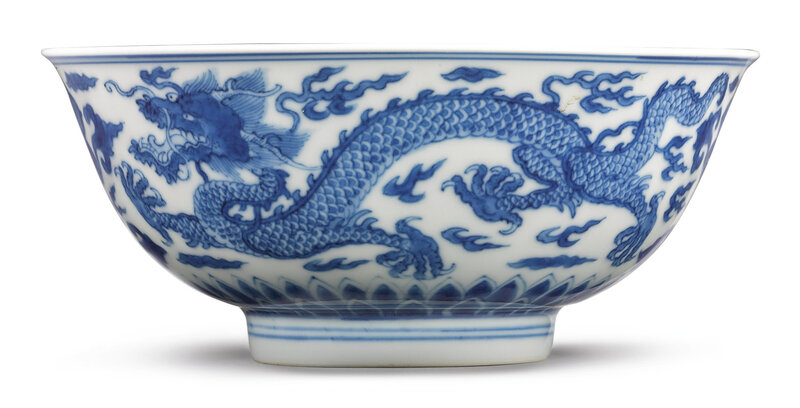 A blue and white 'Dragon' bowl, Kangxi mark and period (1662-1722)