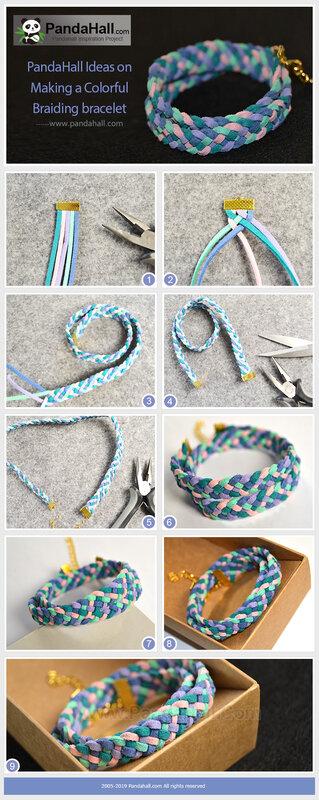 1PandaHall Ideas on Making a Colorful Braiding bracelet