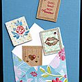 38. bleu, fuchsia et kraft - enveloppe et envolée de timbres