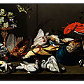 Adriaen van utrecht (1599 - 1653, attributed to), still life with big hunted birfs, lobster, pomp dish, grape and two live pigeo