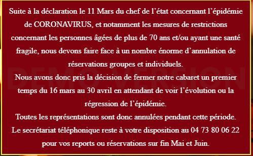 """Déjeuner-spectacle """"Le Moulin Bleu"""" REPORTE Merci de votre compréhension !"""