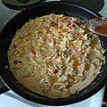 Pâtes au thon, poivrons, tomate, oignons