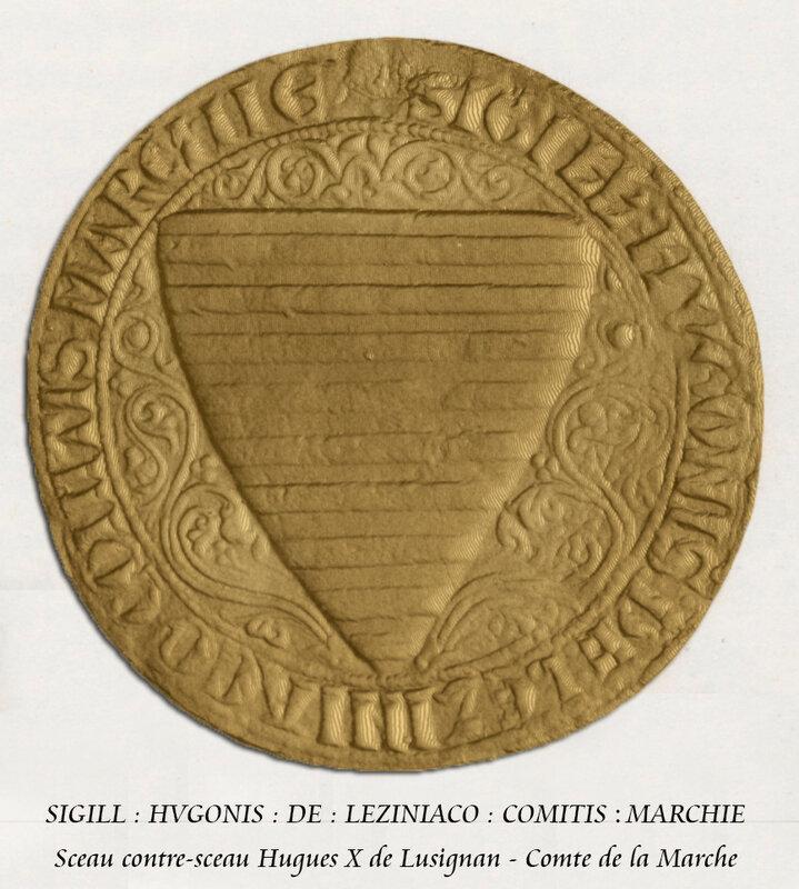 Sceau contre-sceau Hugues X de Lusignan - Comte de la Marche