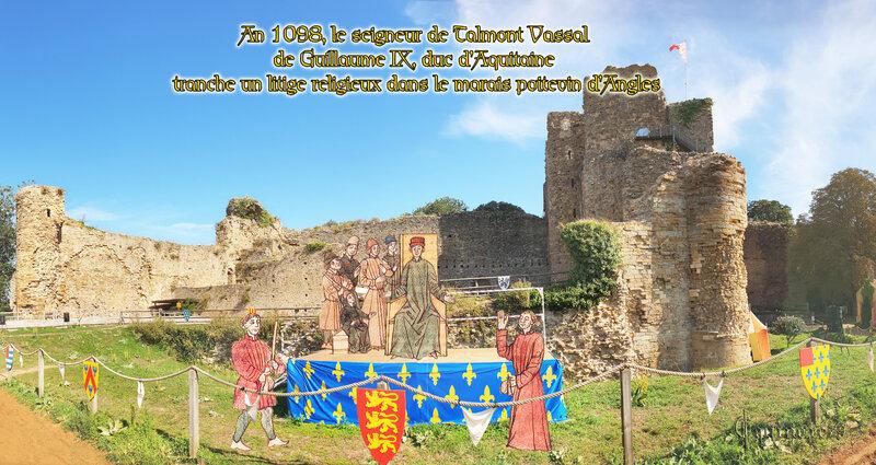 An 1098, le seigneur de Talmont Vassal de Guillaume IX, duc d'Aquitaine tranche un litige religieux dans le marais poitevin d'Angles