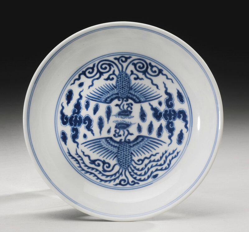 A blue and white 'Phoenix' dish, Qianlong seal mark and period (1736-1795)