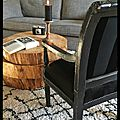 3 rondins table basse, fauteuil patine,