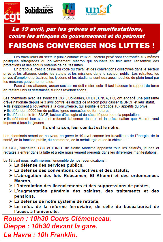 Appel intersyndicale à la mobilisation le 19 avril 2018 - Faisons converger nos luttes !