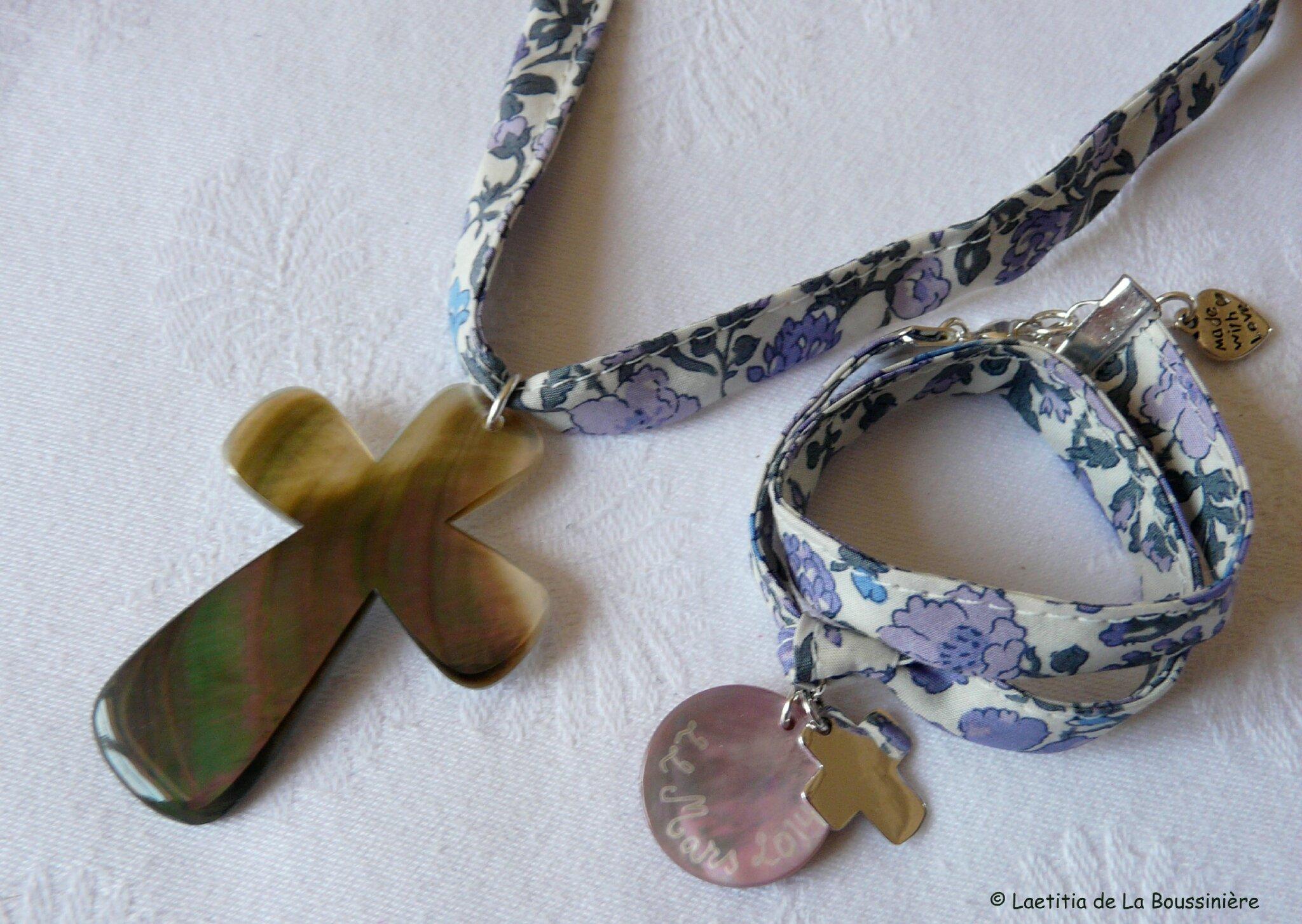 Croix de nacre sur ruban et bracelet médaille en nacre et Croix 17mm en argent massif - Copie