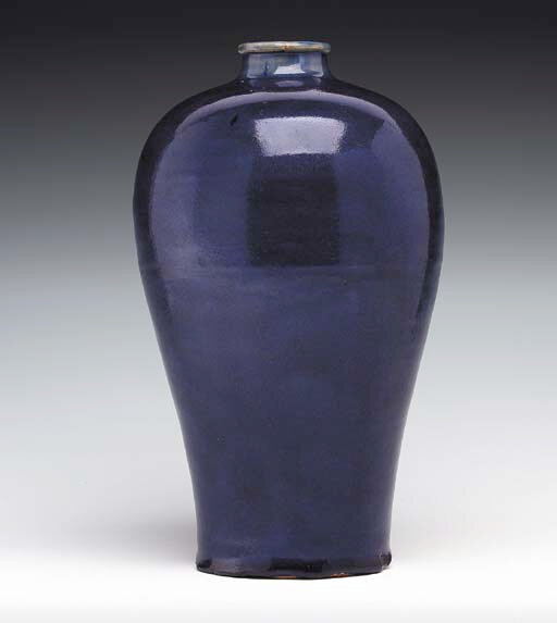 A Rare Blue-Glazed Vase, Meiping, Yuan-Early Ming Dynasty