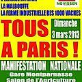 Rappel : manifestation contre l'élevage industriel le dimanche 3 mars