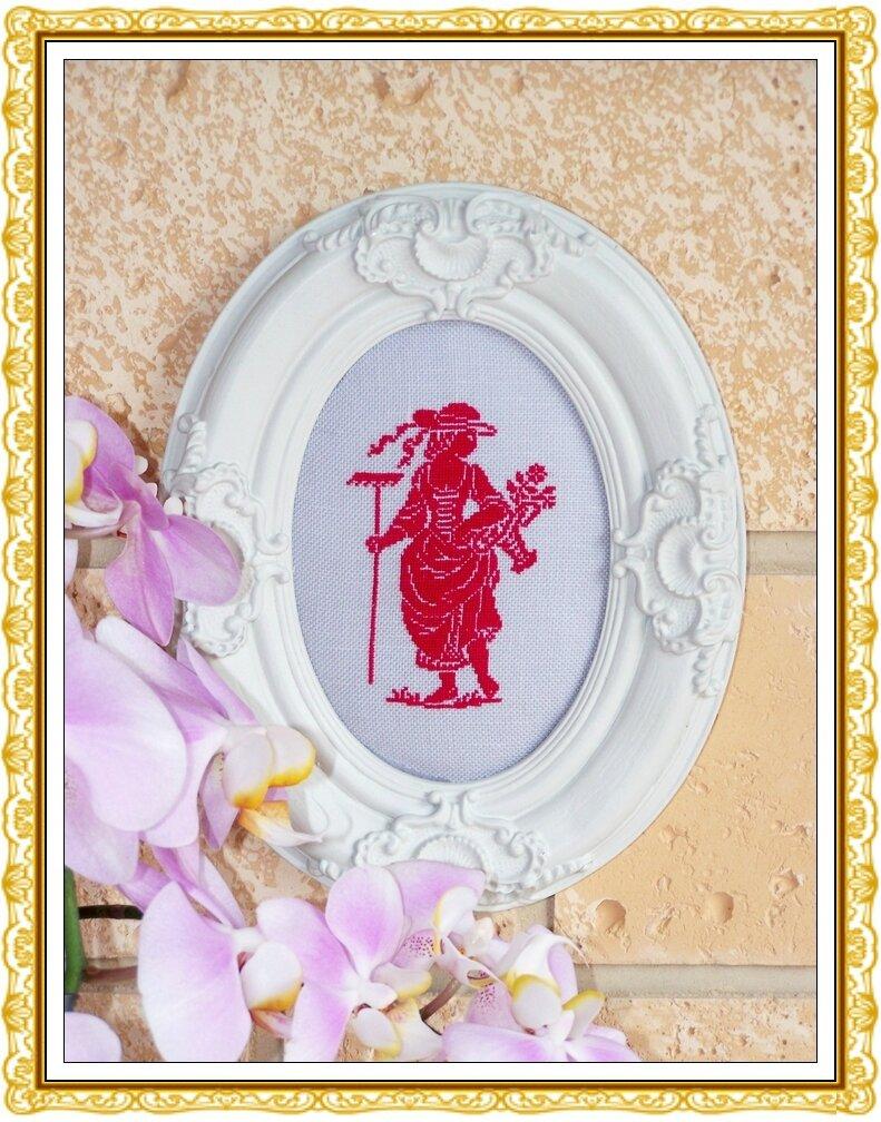 Broderie (La dame au panier fleuri) 9x12,5cm Rouge [3]