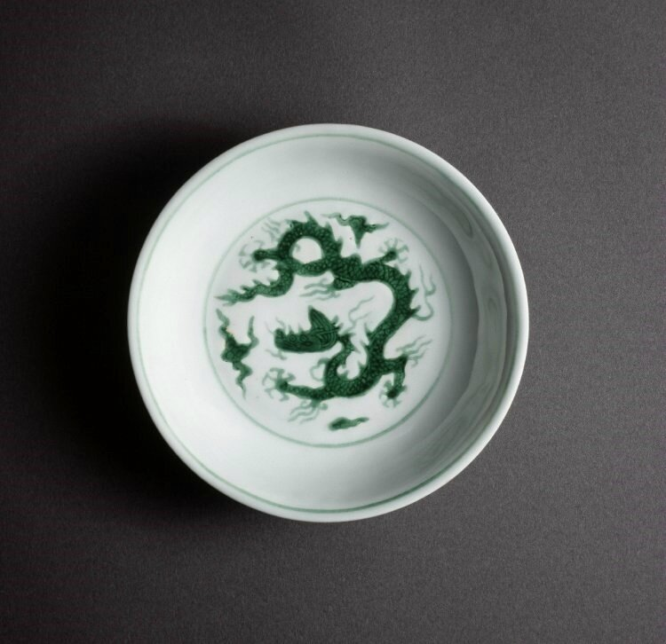 Porcelain dish with incised and green enamel decoration on a white ground, Ming dynasty, Zhengde mark and period (1506-1521)