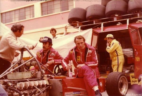 1975-Monaco-312T-Tomaini_Regazzoni_Lauda_Scintilla-paddock