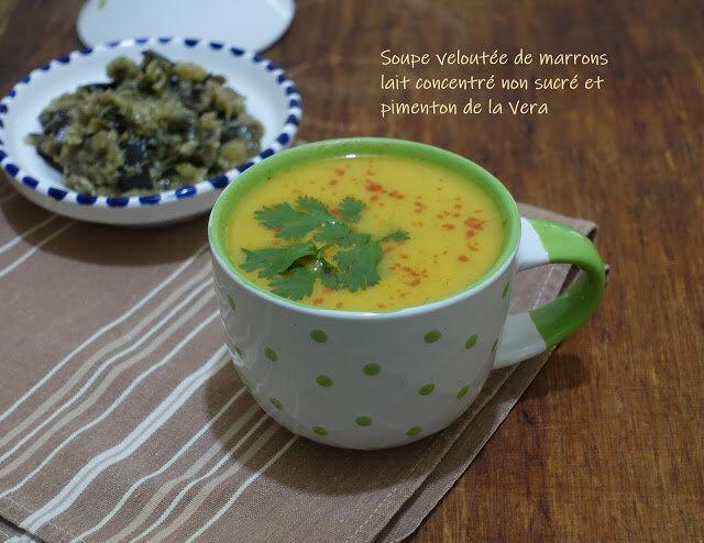 soupe veloutée marrons lait concentré non sucré et pimenton de la Vera