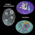 Badges en bois (cigogne,oiseau,fleurs)