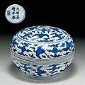 A rare blue and white circular box and cover, jiajing six-character mark and of the period (1522-1566)